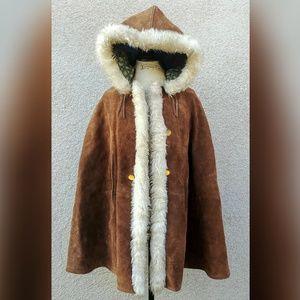 RARE Vintage leather Cape faux fur lined suede
